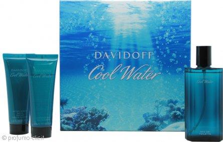 Davidoff Cool Water Confezione Regalo 125ml EDT + 75ml Balsamo Dopobarba + 75ml Gel Doccia
