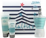 Jean Paul Gaultier Le Beau Male Confezione Regalo 125ml EDT Spray + 75ml Gel Doccia + 30ml Balsamo Dopobarba