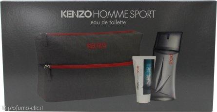 Kenzo Homme Sport Confezione Regalo 100ml EDT + 50ml Balsamo Dopobarba + Borsa da Bagno