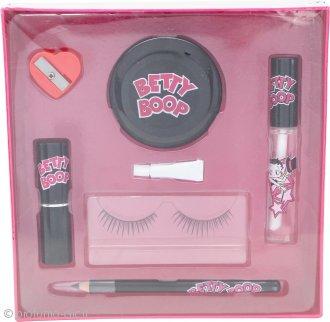 Betty Boop Confezione Regalo Ciglia Finte + Colla + Eye Liner + Temperamatite + Piccolo Specchio + Rossetto + Lucidalabbra
