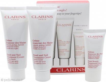 Clarins Jeunesse Des Mains Confezione Regalo 2 x 100ml Hand and Nail Treatment Crema + 30ml Crema Piedi