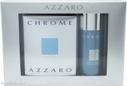 Azzaro Chrome Confezione Regalo 50ml EDT + 150ml Deodorante Spray