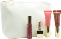 Clarins All About Lips Confezione Regalo Mini Rossetto Rouge Eclat 13 Woodrose + Mini Instant Light Natural Lip Perfector 06 Rosewood Shimmer + Mini Instant Light Natural Lip Perfector 01 Rose Shimmer + Mini Gloss Prodige 04 Candy + Borsa Trucco