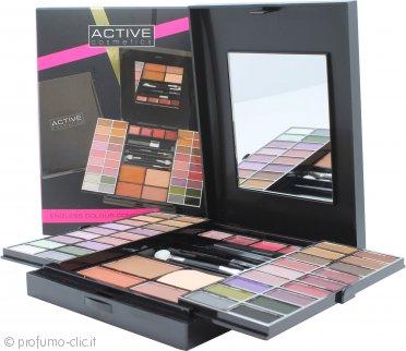 Active Glamour Endless Colour Compact con Specchio 36 Ombretti + 4 Rossetti + 2 Fard + 1 Polvere Abbronzante + 1 Eye Liner + Applicatori
