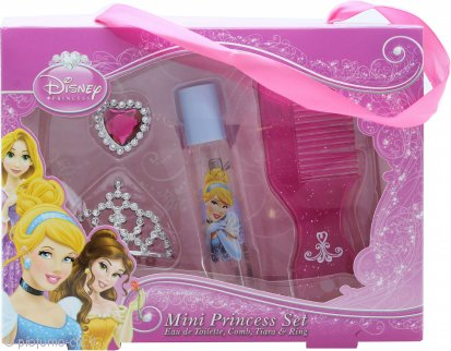 Disney Princess Ladies Confezione Regalo Mini Princess Set 8ml EDT Roll-On + Pettine + Tiara + Anello