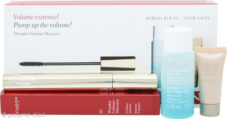 Clarins Wonder Volume Confezione Regalo 7ml Mascara 01 Nero + 30ml Instant Eye Struccante Occhi + 5ml Instant Correttore