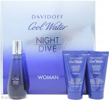 Davidoff Cool Water Night Dive Woman Confezione Regalo 50ml EDT + 50ml Lozione Corpo + 50ml Gel Doccia