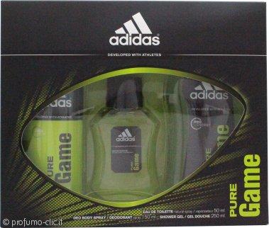 Adidas Pure Game Confezione Regalo 50ml EDT + 150ml Spray per il Corpo + 250ml Gel Doccia