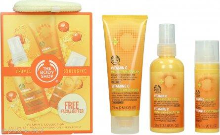 The Body Shop Vitamin C Travel Exclusive Confezione Regalo 100ml Spray Energizzante Viso + 75ml Microdermoabrasione + 30ml Skin Boost + Spugnetta Viso