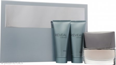 Calvin Klein Reveal Men Confezione Regalo 100ml EDT Spray + 100ml Balsamo Dopobarba + 100ml Shampoo & Bagnoschiuma