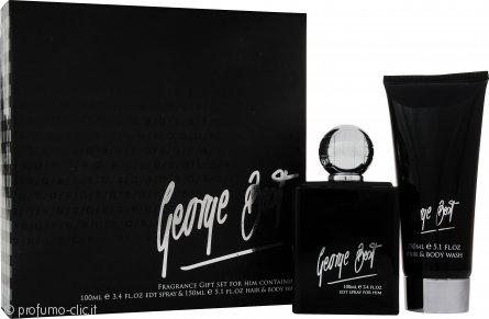 George Best Silver Edition Confezione Regalo 100ml EDT Spray + 100ml Bagnoschiuma & Shampoo