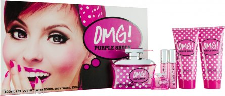 Jigsaw OMG! Purple Shock Confezione Regalo 100ml EDT + 150ml Lozione Corpo + 150ml Bagnoschiuma + 2 x 15ml Spray da Borsetta + 7.5ml EDT Mini