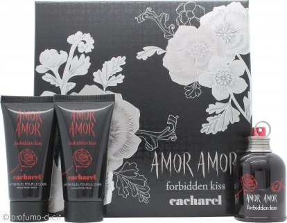 Cacharel Amor Amor Forbidden Kiss Confezione Regalo 50ml EDT Spray + 2 x 75ml Lozione per il Corpo