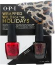 OPI Wrapped Wild For The Holidays Confezione Regalo 15ml Smalto Big Apple Red + 15ml Smalto Muir Muir on the Wall + Sciarpetta Ghepardata