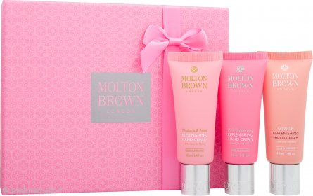 Molton Brown Replenishing Crema Mani Confezione Regalo 3 x 40ml - Rhubarb & Rose + Pink Pepperpod + Gingerlily