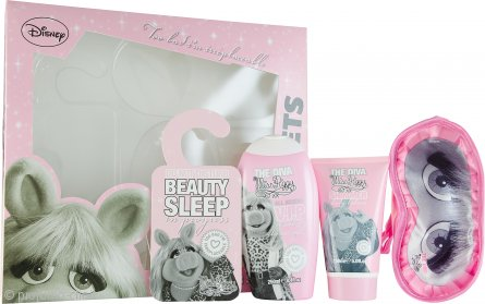 The Muppets Superstar Confezione Regalo 250ml Miss Piggy Gel Doccia + 150ml Miss Piggy Shimmer Lozione Corpo + Mascherina per Dormire + Cartellino per Porta