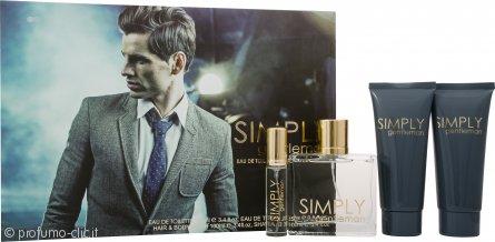 Simply Gentleman Confezione Regalo 100ml EDT Spray + 100ml Shampoo & Bagnoschiuma + 100ml Balsamo Dopobarba + 15ml Spray da Borsetta