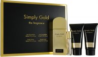 Simply Gold The Fragrance Confezione Regalo 100ml EDP + 100ml Lozione Corpo + 100ml Gel Doccia + 15ml Spray da Borsetta