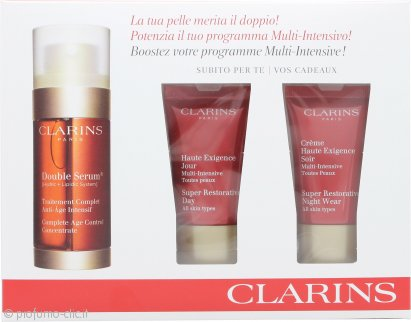 Clarins Skincare Confezione Regalo 30ml Double Serum + 15ml Super Restorative Crema Giorno + 15ml Super Restorative Crema Notte