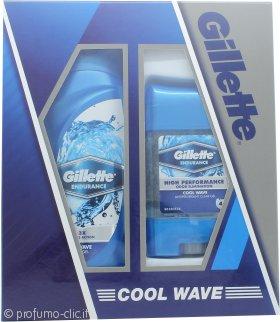 Gillette Cool Wave Confezione Regalo 250ml Gel Doccia + 70g Deodorante Clear Gel