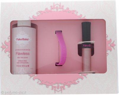 FakeBake Flawless Confezione Regalo 170ml Autoabbronzante Liquido + Lucidalabbra + Guanto + Fascia da Polso