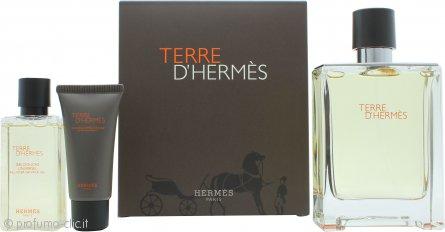 Hermes Terre D'Hermes Confezione Regalo 100ml EDT + 40ml Gel Doccia + 15ml Balsamo Dopobarba