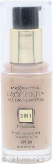 Max Factor Facefinity All Day Flawless 3 in 1 Fondotinta 30ml - SPF20 Rose Beige 65