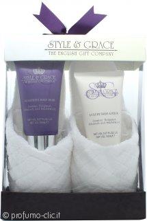Style & Grace Rest and Relaxation Confezione Regalo 150ml Lozione per il Corpo + 150ml Bagnoschiuma + Pantofole