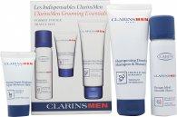 Clarins Men Confezione Regalo 50ml Gel Rivitalizzante + 30ml Shampoo & Gel Doccia + 30ml Detergente Viso Active