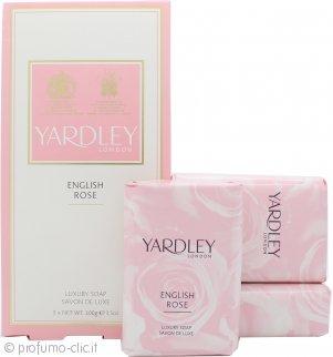 Yardley English Rose Saponi 3 x 100g