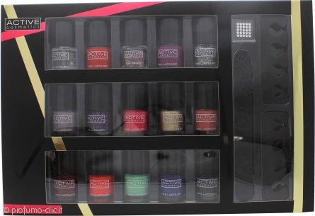 Active Cosmetics Glamour Nail Bar Selection 15 x 5ml Smalti + 2 x Separatori Dita Piedi + Lima + 25 x Gemme per Unghie