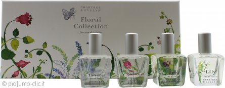 Crabtree & Evelyn Floral Collection Confezione Regalo 4 x 15ml EDT Spray - Rosewater + Lavender + Iris + Lily