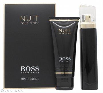 Hugo Boss Boss Nuit Pour Femme Confezione Regalo 75ml EDP Spray + 100ml Lozione Corpo