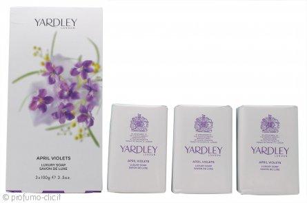 Yardley April Violets Saponi 3 x 100g