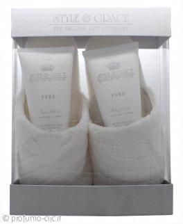 Style & Grace Puro Pure Bliss Slipper Confezione Regalo 150ml Bagnoschiuma + 150ml Lozione per il Corpo + Pantofole