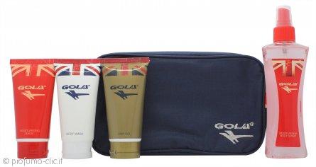 Gola Confezione Regalo 75ml Bagnoschiuma + 75ml Gel per Capelli + 75ml Balsamo Idratante + 150ml Body Spray Idratante + Borsa
