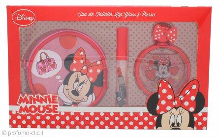 Disney Minnie Mouse Confezione Regalo 50ml EDT + Lucidalabbra + Portamonete Rotondo