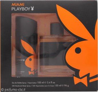 Playboy Miami Confezione Regalo 100ml EDT + 150ml Deodorante Spray