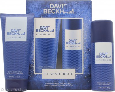 David Beckham Classic Blue Confezione Regalo 150ml Body Spray + 200ml Shampoo & Bagnoschiuma