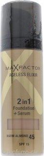 Max Factor Ageless Elixir 2 in 1 Foundation + Serum 30ml Warm Almond 45