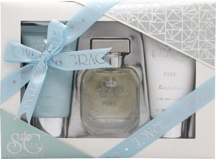 Style & Grace Puro Fragrance Confezione Regalo 50ml EDP + 70ml Bagnoschiuma + 70ml Lozione Corpo