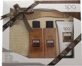 Style & Grace Spa Deluxe Natural Spa Experience Confezione Regalo 250ml Bagnoschiuma + 200ml Lozione Corpo + 250ml Crema Da Bagno + Spazzola per Corpo + Spugna Esfoliante