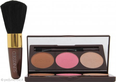 Sunkissed Bronze and Contour Confezione Regalo 3.5g Bronzer + 3.5g Fard + 3.5g Highlighter + Applicatore + Pennello per Fard