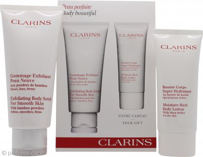 Clarins Body Beautiful Confezione Regalo 200ml Scrub Esfoliante + 100ml Moisture Rich Lozione Corpo
