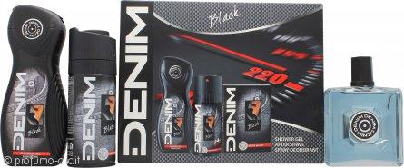 Denim Black Confezione Regalo 100ml Lozione Dopobarba + 150ml Deodorante Spray + 250ml Gel Doccia