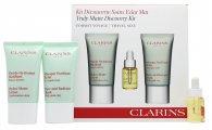 Clarins Truly Matte Discovery Kit Confezione Regalo 15ml Hydra-Matte Lozione + 15ml Pure and Radiant Maschera + 5ml Lotus Olio Trattamento Viso