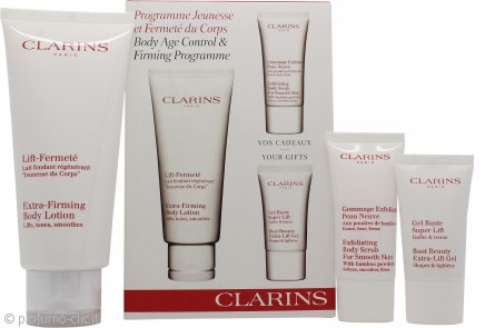 Clarins Confezione Regalo 200ml Extra-Firming Lozione Corpo + 30ml Body Scrub Esfoliante + 15ml Bust Beauty Gel Extra-Lift