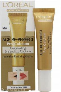 L'Oreal Age Re-Perfect Pro-Calcium De-Crinkling Eye & Lip Contour Cream 15ml Pelle Molto Matura