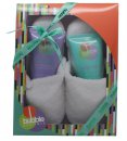 Style & Grace Bubble Boutique Slipper Confezione Regalo 150ml Bagnoschiuma + 150ml Lozione Corpo + Pantofole (Taglia Unica)