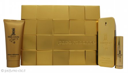 Paco Rabanne 1 Million Confezione Regalo 100ml EDT + 10ml EDT + 100ml Gel Doccia